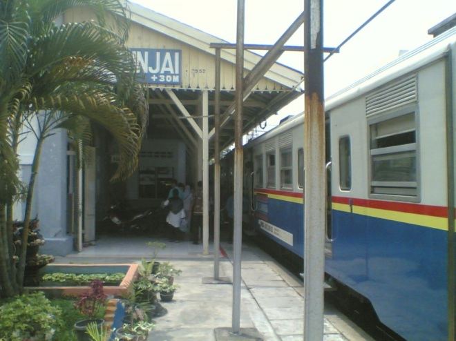 Moment of arriving in Binjai Railway Station