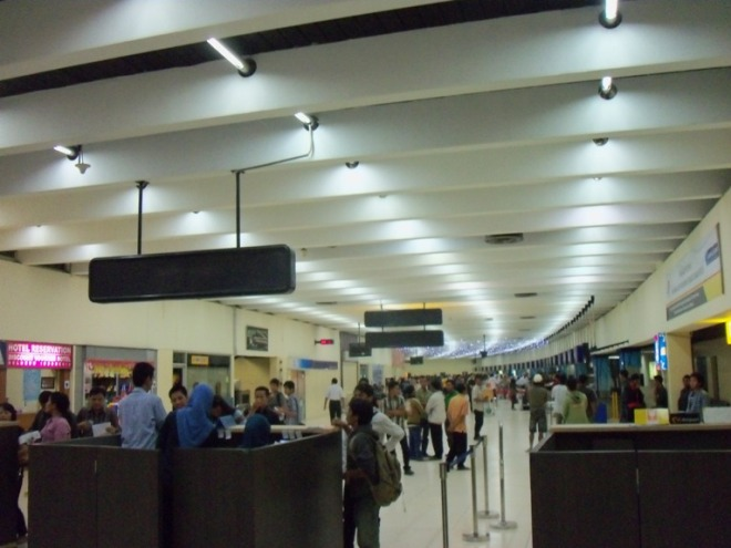 Check-in Area, with the unique roof