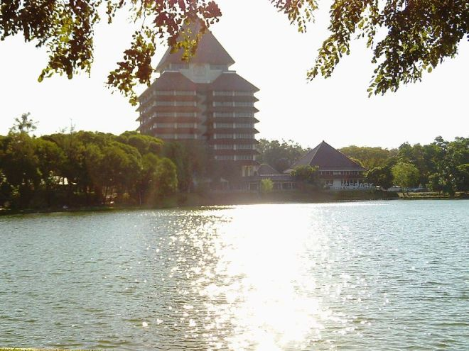 The Lake inside University of Indonesia, with glittering sunshine reflection upon the water