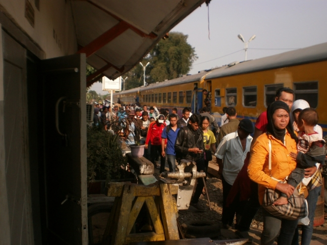 Passengers dropped off the train