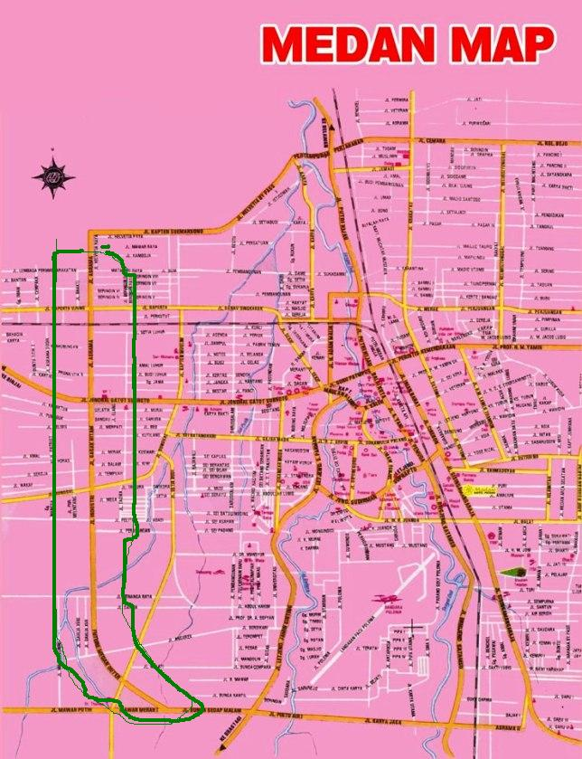 Peta Kota Medan - Jalan Lingkar Barat adalah yang dilingkari warna hijau