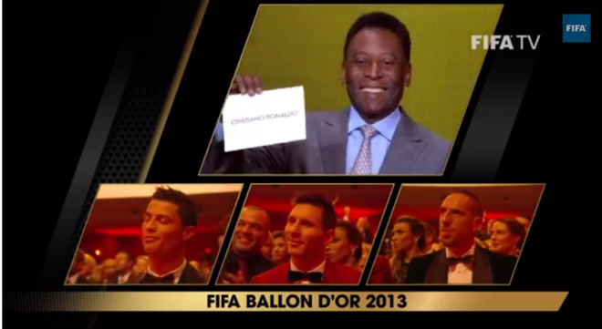Cristiano Ronaldo announced by football legend Pele, as the winner of Baloon d'Or 2013 for male player category