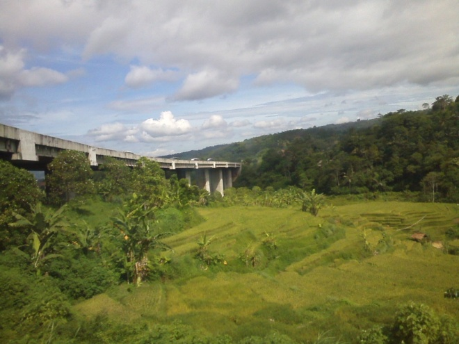 Cipularang Motorway bridge above the green valley of Padalarang