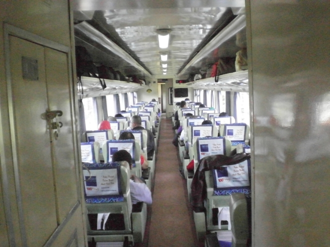 The surrounding Inside the train...you can see the seats rows