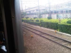 Kereta beranjak meninggalkan Stasiun Bogor