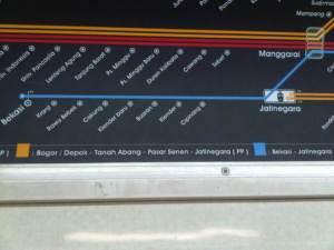 Rute Perjalanan KRL Jakarta Kota - Bekasi (warna biru)