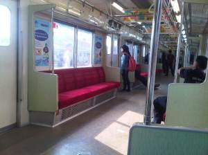 Terlihat penumpang di kereta yang akan turun di Stasiun Manggarai - sampai di sini penumpang tetap sepi